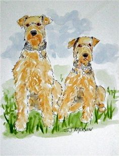 Two Aires - airedale, dog, painting, portrait, art, dog terrier ...   www.dailypainters.com-378 × 495-Search by image Two Aires - airedale, dog, painting, portrait, art, dog terrier painting by artist Sandra Merwin