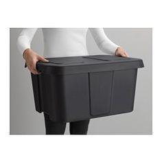 IKEA - KLÄMTARE, Box mit Deckel innen/außen, 58x45x30 cm, , Diese robuste, stapelbare und wasserdichte Box lässt sich auch im…