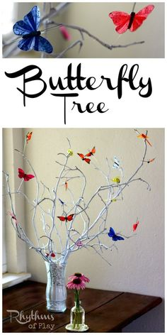 A fun DIY project for the whole family. This DIY butterfly tree makes a lovely addition to your home decor or nature table. They also make wonderful centerpieces for any occasion including weddings!