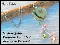 Hair curl/ Breast Milk Pendant. Colors are customizable. Bird charm can be customized to an initial or other small charm. Contact shop owner if interested in the breast milk charm as etsy does not allow the sale of those items, it can be done by custom request through shop owners secondary website