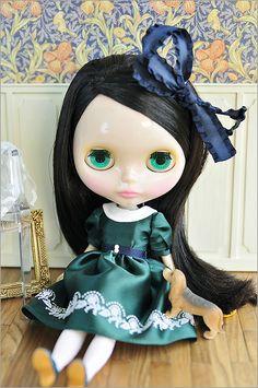 [Eiffel] green satin dress,  By Happy*Blue