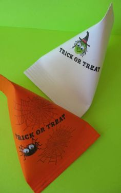 Trick or Treat Containers at Skip to my Lou - these look like invididual serving sour cream containers