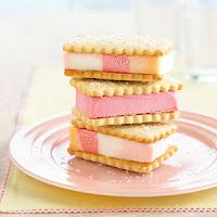 Nice Idea. Looks like shortbread cookies with neopolitan or shebert ice cream.