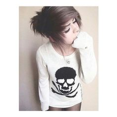 ll emo girl ll ❤ liked on Polyvore featuring hair, beauty, hairstyles and people