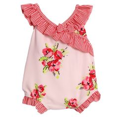 Absorba Infant Baby Girls 1 Piece Pink Floral Print Striped Swimsuit:Amazon:Clothing
