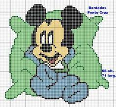 Mickey Mouse x-stitch Animated Disney Characters, Baby Cartoon Characters, Cross Stitch Kits, Cross Stitch Patterns, Cross Stitching, Cross Stitch Embroidery, Hama Disney, Mickey Y Minnie, Mickey And Friends