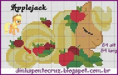 MLP Applejack pattern by Dinha Ponto Cruz Cross Stitch Horse, Beaded Cross Stitch, Cross Stitch Charts, Cross Stitch Embroidery, Cross Stitch Patterns, My Little Pony Craft, My Little Pony Unicorn, Pixel Crochet, Crochet Cross