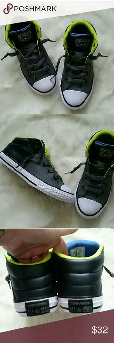 Boys Converse New without box.  Gray, neon green, blue, black and white in color.  Converse All-Stars.  Toes have a little mark on them from being stored with other shoes (pic6) otherwise perfect condition. Converse Shoes