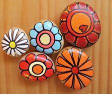 Hand painted rocks, stones, pebbles. Pebble art. Flowers, fridge magnets