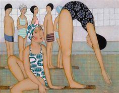 Cécile Veilhan - A la piscine 30F 92X73cm