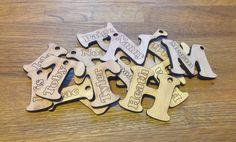 10 Party bag name tags keytag favor name badge school bag labels laser cut