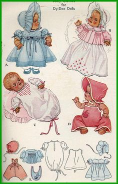 Vintage doll clothes pattern McCall 713 for Dy Dee doll by Effanbee a 20 inch doll a 1940s pattern.