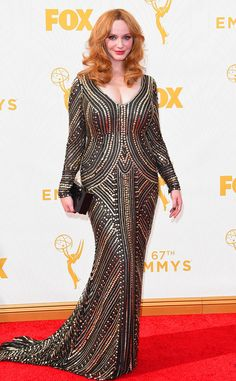 Christina Hendricks in Naeem Khan at the 2015 Emmys