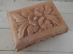 Hand Carved Wooden Treasure Box - Hand Crafted Carved Wooden Covered Box - Fine Wood Carving - Hand Carved Jewelry, WhatNot, Treasure Box Simply stunning hand carved wooden box decorated with stylized leaves and flowers. Not only did an expert, highly skilled craftsman carve the