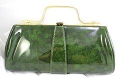 Vintage Handbag Marbled Green Vinyl