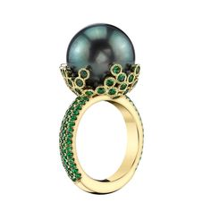 Tahitian Pearl Green Tsavorite Gold Cocktail Ring | From a unique collection of vintage cocktail rings at https://www.1stdibs.com/jewelry/rings/cocktail-rings/