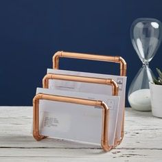 Industrial Copper Letter Holder - metal is officially the material of the moment in homeware and jewellery.