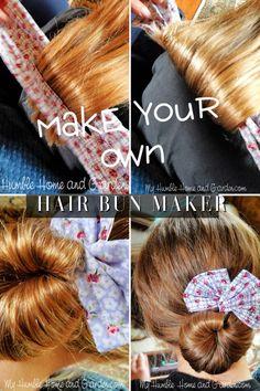 An Easy Way To Make A Fabric Hair Bun Maker - My Humble Home and Garden Elegant Hairstyles, Bun Hairstyles, Diy Hair Bun Maker, Sewing Headbands, Bow Headbands, Handmade Headbands, Bun Bow, Elegant Bun, Wire Headband