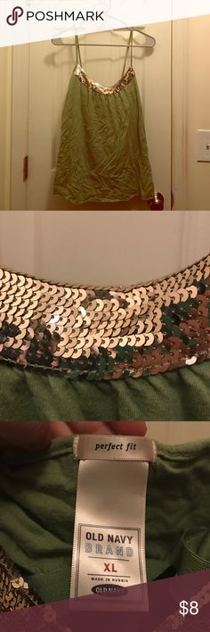Green and gold sequin Old Navy Tank XL Old Navy. Green and Gold sequin spaghetti strap tank top. With built in shelf bra. Old Navy Tops Tank Tops