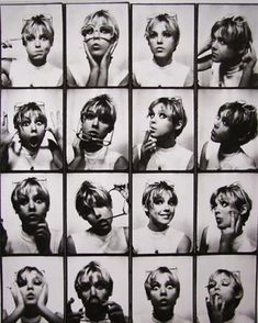 Ben: Cool B photobooth pictures of Edie Sedgwick by Andy Warhol. We should post a picture of this contact sheet outside the photobooth as inspiration :) Edie Sedgwick, Beat Generation, Alberto Giacometti, Everybody's Darling, Blaise Cendrars, Poor Little Rich Girl, Marguerite Duras, Contact Sheet, Photos Booth