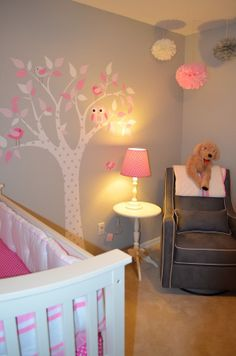 Grey walls white and pink accents with birds and owls for @Sarah Chintomby Kimble's babies :)
