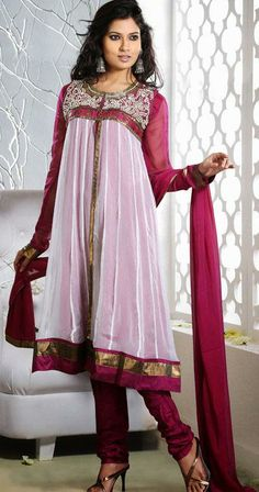 $108.19 White and Pink Thread Work Chiffon Anarkali Salwar Suit  25146