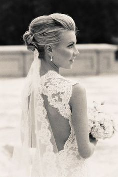 lace wedding gown with marching lace veil Wedding Wishes, Wedding Bells, Wedding Events, Weddings, Lace Back Wedding Dress, One Shoulder Wedding Dress, Dress Lace, Backless Wedding, Lace Dresses
