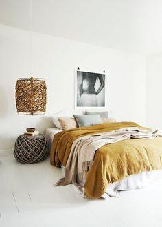 tawny gold hued modern bohemian bedroom / sfgirlbybay