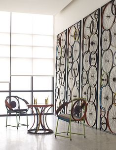 Bicycle wheel wall panels ~ Brilliant!