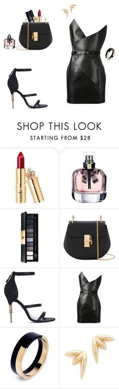 Night out in black by laura-paasivirta on Polyvore featuring Yves Saint Laurent, KG Kurt Geiger, Chloé, Marni, Jules Smith, Leather and NightOut