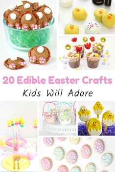 Have fun with your kids and create a fun snack for Easter with these Edible Easter Craft ideas that your children will love - 20+ different ideas! #easter #recipes