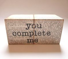 'You Complete Me' Solid Wooden Blocks