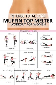 This muffin top melter workout will help you lose belly fat. It will give you a flat stomach and increase weight loss for women who need to get rid of that extra tire. This intense total core rou Fitness Workouts, Butt Workout, Leg Workout At Home, Glute Exercises, Easy At Home Workouts, Girl Workout, Fitness Video, Fitness Tips, Health Fitness