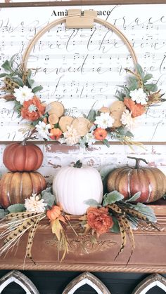 Turn a hoop into a Wreath by adding lambs ear and wood slices from Hobby Lobby. Add color with flowers and small pumpkins from Dolla… – Decoration Diy Fall Wreath, Fall Wreaths, Fall Home Decor, Autumn Home, Thanksgiving Decorations, Seasonal Decor, Holiday Decor, Small Pumpkins, White Pumpkins