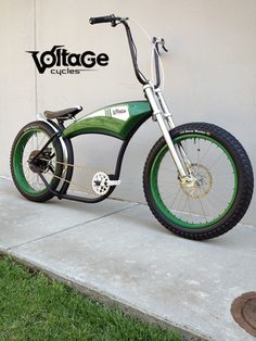 I love this bike. ....Voltage Cycles Custom Electric Bike:    Green Machine    Style: Bobber - Ape Hanger     FRAME:  Project 346 Sport Frame - Matte Black    FRONT END:  346 Dual Clamp Chrome Forks  Threadless Block Style Stem - Silver  Threadless Headset - with Green Spacers  Ape Hanger Handlebars - Black  Grips - O...