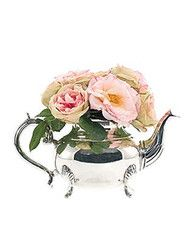 Pink Roses in Silver Teapot perfect for dining room accent or a nice touch for bedside guest room.  These can be shipped to your door Worldwide by www.ShopTheShoppingBag.com  #interiordesign #florals #accents #roses #tea
