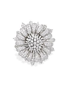Platinum and Diamond Brooch, Circa 1965 | lot | Sotheby's