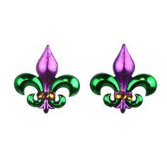 """Vibrant Mardi Gras colors Purple and Gold Fleur de lis Dimensions 1.1"""" X 1.1"""""""