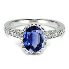 Brides.com: Engagement Rings with Colorful Stones. Platinum and diamond ring with oval sapphire, $12,750, Tacori  See more Tacori engagement rings.