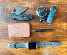 """submitted by JonahMoft Snap-on Phone Stand & WalletFisher Space Pen With ClipOrbitkey Crazy Horse Key OrganizerSpyderco Para 3 LightweightYubikeyApple Watch Series 3 42mmiPhone 12 Mini (White)For a few weeks I've been thinking about what I really need to have on my person, in my bag or in the car. This is my first go at a """"concious"""" EDC, and I am pretty happy with it. Next addition will be my CCW (waiting on the permit to arrive in the mail)..."""