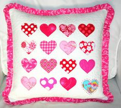 Valentine Projects We Love: Quilted Valentine Hearts Pillow