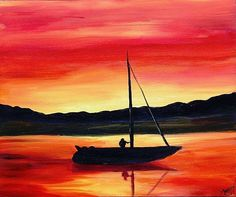 sunset and boat by Tammy Fleetwood Moody