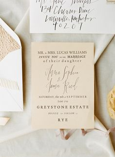 simple & neutral calligraphy wedding invitations