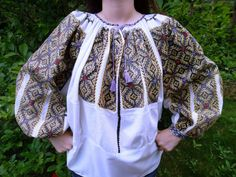 """Popular Folk Embroidery Traditional Romanian blouse """"IE"""" from Muscel area (vintage) found on FB page: Costume Populare Vechi Folk Embroidery, Embroidery Patterns, Folk Costume, Costumes, Embroidery Techniques, Textiles, One Piece, Popular, Blouse"""
