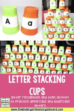 Stacking cups in this STEM challenge will also help students with their letter recognition!  FREE labels included!