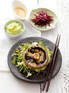 Barbequed Flat Mushrooms with Miso and Wasabi-Avocado Mayonnaise