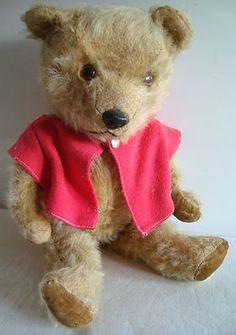 "Vintage old Chiltern Hugmee mohair teddy bear, velvet pads,1950s, 16"""