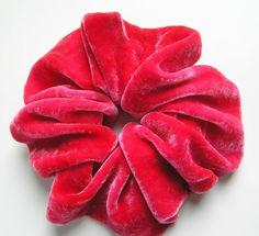 SILK VELVET Scrunchie hand dyed rosy red by SplendidLittleStars, $9.25