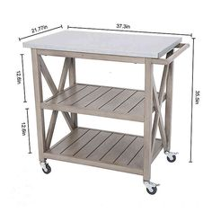 Stay organized in style with the Galvanized Steel Top Indoor/Outdoor Bar Cart. Crafted from rust and weather-resistant steel, this cart features a galvanized steel top that is perfect for prep work, and 2 shelves for storage. Outdoor Bar Furniture, 2x4 Furniture, Outdoor Bar Cart, Staying Organized, Galvanized Steel, Steel Frame, Indoor Outdoor, Bath, Stone