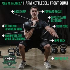 The Kettlebell Front Squat is an essential movement for building lower body and core strength. It is also required for a variety of other kettlebell exercises that incorporate the squat movement including Jump Squats Squat Presses and Squat Holds. Fitness Workouts, Fitness Gym, Fitness Tips, Fitness Motivation, Glute Workouts, Fitness Memes, Funny Fitness, Fitness Nutrition, Circuit Kettlebell